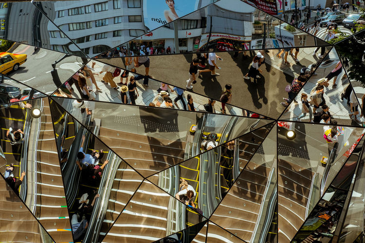High angle view of people walking on steps