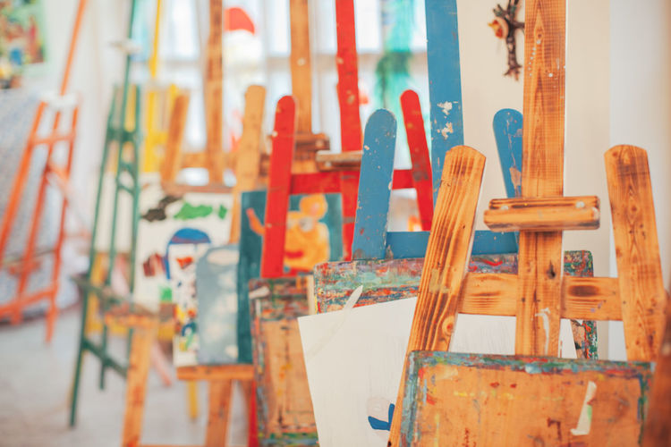 Close-Up Of Easels In Studio