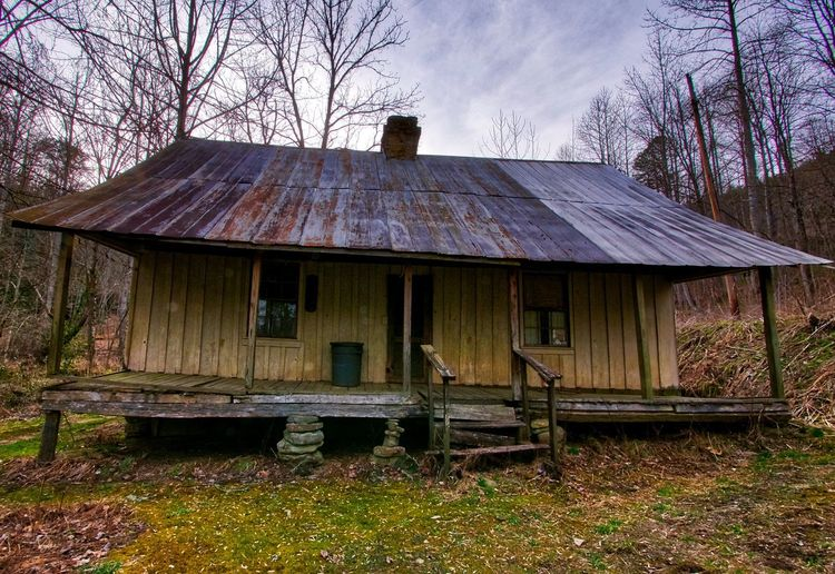 Cabin in the woods Appalachia Rustic Abandoned Architecture Bare Tree Building Building Exterior Built Structure Cabin Cottage Day Environment Field Forest House Land Nature No People Old Outdoors Primitive Roof Sky Tree Wood - Material
