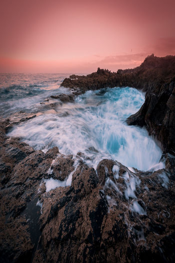 Heart Water Sunset Love San Valentine's Day Pink Color Sea Rock Rock - Object Solid Sky Motion Beauty In Nature Scenics - Nature Land Nature Beach No People Wave Sport Horizon Over Water Horizon Rock Formation Outdoors Power In Nature