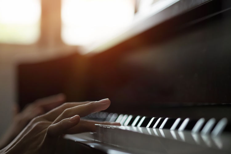 Closeup hand Playing piano. Adult Arts Culture And Entertainment Classical Music Close-up Day Human Body Part Human Finger Human Hand Indoors  Keyboard Instrument Lifestyles Music Musical Instrument Musician One Person People Performance Pianist Piano Piano Key Playing Real People Skill