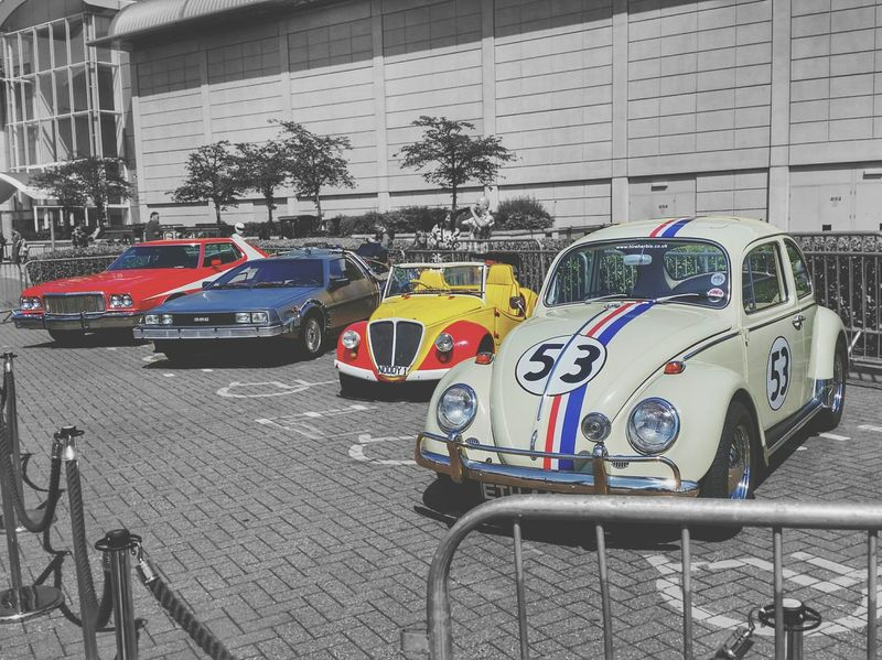 Taken at Bristol car show Cars Famous Classic Cars HerbieTheLoveBug Herbie Starsky & Hutch Noddy Delorean Deloreantimemachine Back To The Future Smartphone Photography Colour Splash Black & White Background Bristol United Kingdom