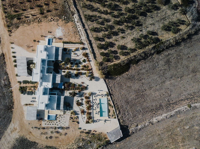 Aerial photo of a villa in Greece High Angle View Landscape Aerial View Architecture Building Exterior Nature Day Built Structure Environment Plant Land Field Tree Scenics - Nature No People Outdoors Building Water Agriculture House Villa Mediterranean