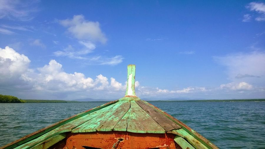 Journey on boat Sailing Boat Traditional Traveling Andaman Sea Blue Sky Bright Light Wooden Boat Water Nautical Vessel Sky Cloud - Sky Longtail Boat Horizon Over Water Ocean Sea Seascape Coast