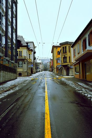 Sky Taking Photos It's Cold Outside Nikon Switzerland Nikonphotography Nikonphotographer Nikon D750 JO-LPHOTO Tranquility Rain Snow Day La Chaux-de-Fonds City Street Streetphotography