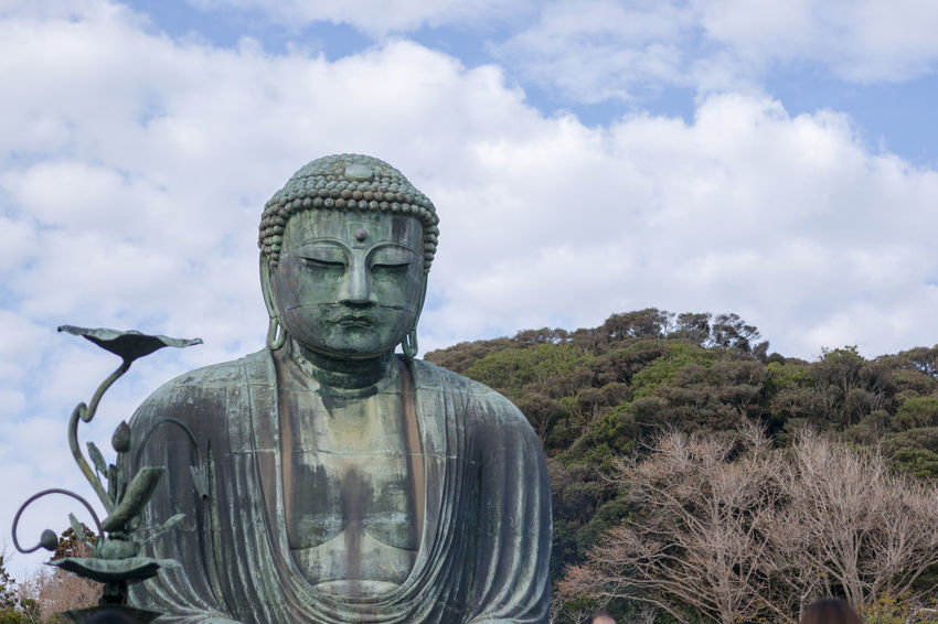 Human Representation Art And Craft Sculpture Statue Cloud - Sky Representation Male Likeness Sky Nature Religion No People Spirituality Belief Day Creativity Plant Outdoors History Government Idol Great Buddha Of Kamakura α900