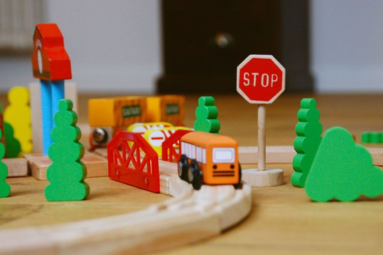 Close-Up Of Toy Train On Table At Home