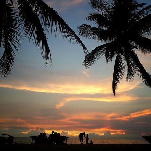sunset bangsaen beach.