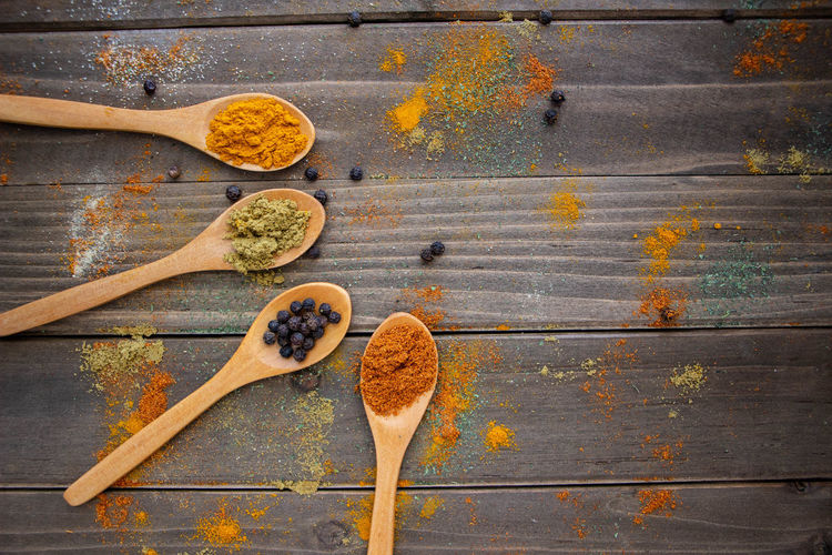 Directly Above Food Freshness Healthy Eating Kitchen Utensil Seasoning Spice Still Life Variation Wellbeing
