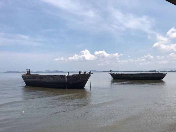 Nautical Vessel Transportation Water Sky Mode Of Transportation Sea Cloud - Sky No People Horizon Over Water Scenics - Nature Tranquil Scene Beauty In Nature Day Tranquility Beach Outdoors Nature Moored Land Horizon