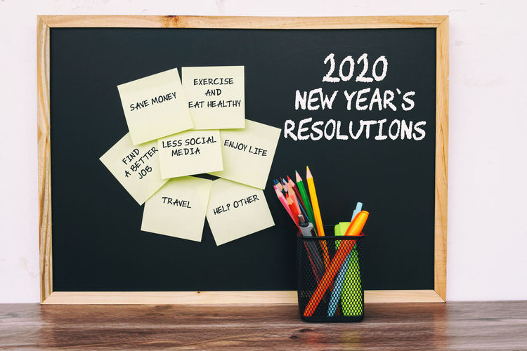 2020 New Year Resolutions Yellow Sticky Notes List Pen Black Board Text Aspirations Goals Planning New Year Still Life Pencil Message