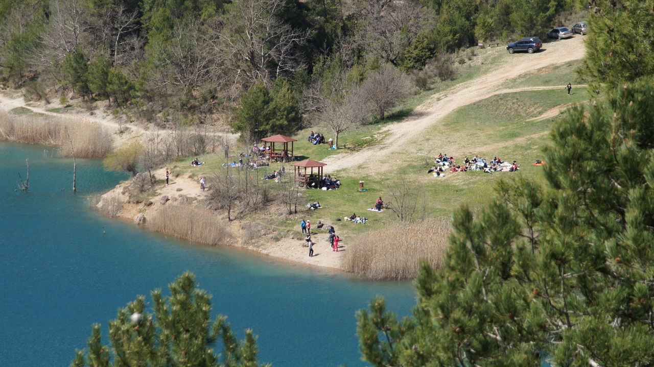 water, plant, high angle view, tree, group of people, transportation, nature, day, mode of transportation, leisure activity, real people, large group of people, land, lifestyles, outdoors, adventure, incidental people, beauty in nature, women