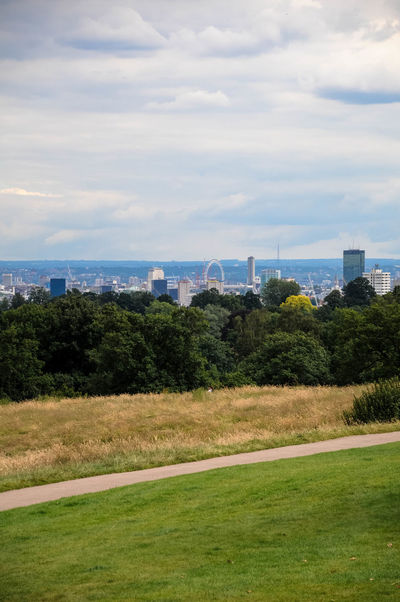 Afar Architecture Beauty In Nature Building Exterior City Cityscape Cloud - Sky Clouds Distant Distant View Grass Hampstead Heath London Nature Nature Photography Outdoors Park Path Pattern Sky Skyline Skyscraper