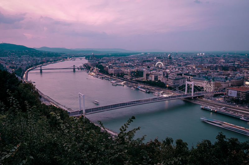 High angle view of bridge in budapest over river danube