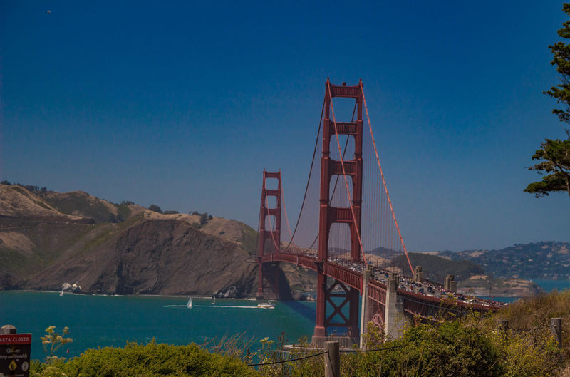 Golden gate bridge against blue sky