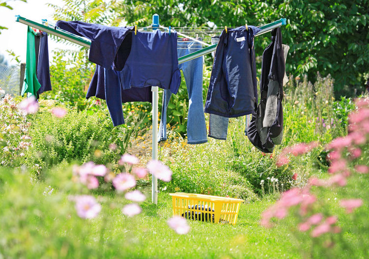 Clothes Drying On Rotary Washing Line On Grassy Field At Backyard