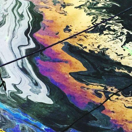 Oil Oil Slick Rainbow Water Harbour Denmark Copenhagen Copenhagen, Denmark Boatlife