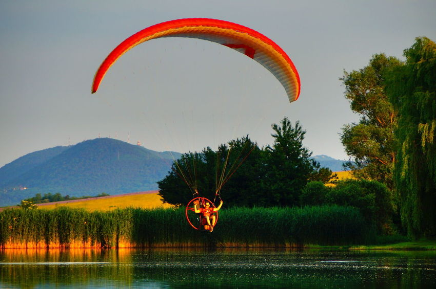 Paraglider above the lake Adventure Beauty In Nature Day Extreme Sports Flying Grass Lake Landscape Mid-air Mountain Nature No People Outdoors Parachute Paragliding Pilis Pilisszántó Reeds Scenics Sky Tranquil Scene Tranquility Tree Water