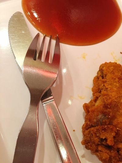 Sauces Tomato Sauce Fried Chicken Mealtime Spoon And Knife