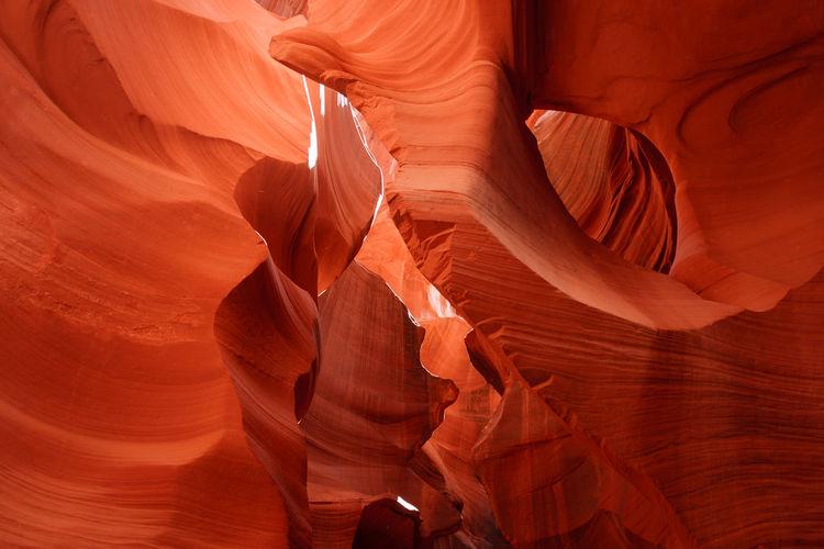 Colorful sandstone rock formation inside breathtaking lower antelope canyon near page, arizona