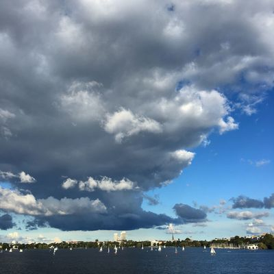 Clouds Hamburg Alster Alster View City Sailing Cloud - Sky Blue Sky Tree City Life Adapted To The City