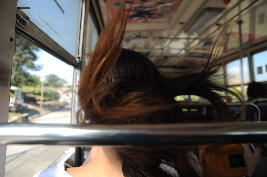 Bus Close-up Hairstyle Travel Window Windy Young Adult Young Women