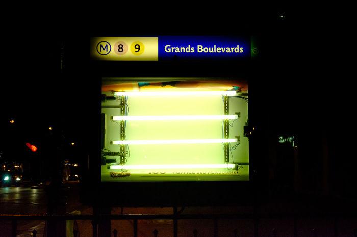 Metro Paris Bare Bulb Fluorescent Light Grands Boulevards Illuminated Moody Night No People