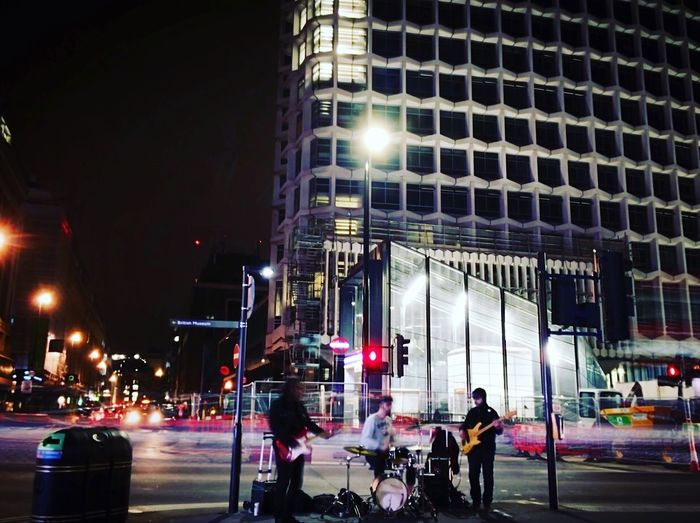 Usual London Music Stifanibrothers Night Illuminated Architecture Building Exterior Built Structure City Life Street City Real People Outdoors Lifestyles People Sky Men Mobility In Mega Cities