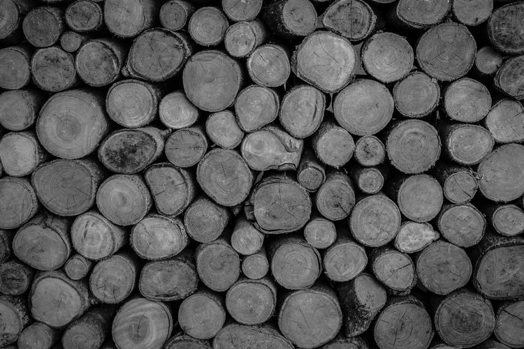 Backgrounds Black And White Close-up Day Deforestation Forestry Industry Full Frame Log Lumber Industry No People Pattern Stack Textured  Timber Woodpile