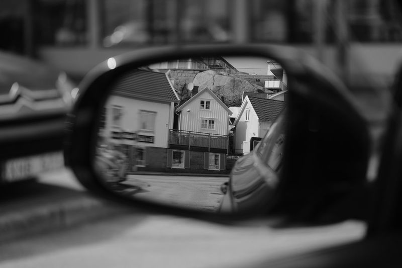 Don't look back? Bil Blackandwhite Buildings Car Centrum Day Enjoying Life EyeEm BlackandWhite Eyeem Monochrome Eyeem Sweden Fujifilm Fujinon Hus I Min Bil In My Car Kungshamn Mirror Monochrome Outdoors Reflection Spegel Taking Photos X-PRO2 XF50 Xf50f2 The Street Photographer - 2017 EyeEm Awards