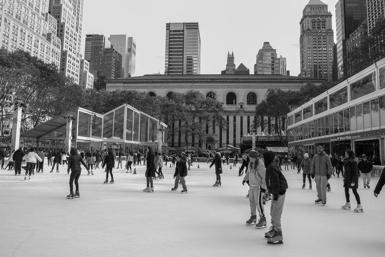 Bryant Park.. Bryant Park NYC FujiX Architecture Ice Rink Ice Skating Leisure Activity Monochrome People Real People