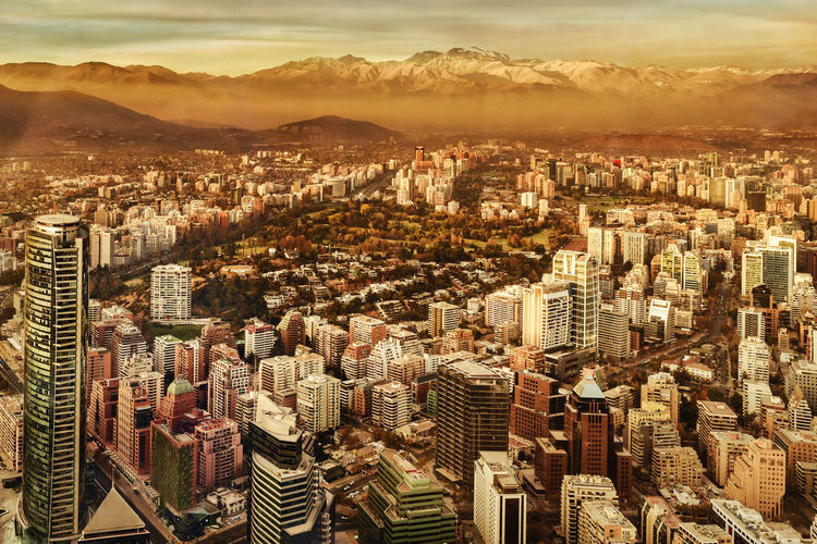 cerro san cristobal; cordillera de los andes, Cityscape Sky Skyscraper High Angle View Travel Destinations Chile Santiago De Chile Aerial View Landscape_photography