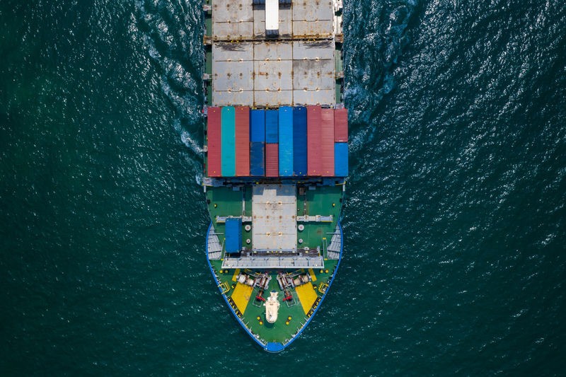 Shipping containers  on the green sea