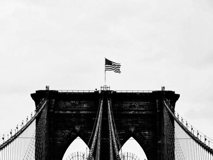 Architecture Built Structure Bridge - Man Made Structure Engineering Famous Place Flag Travel Destinations International Landmark City Outdoors Brooklyn Bridge  Architecture Front View