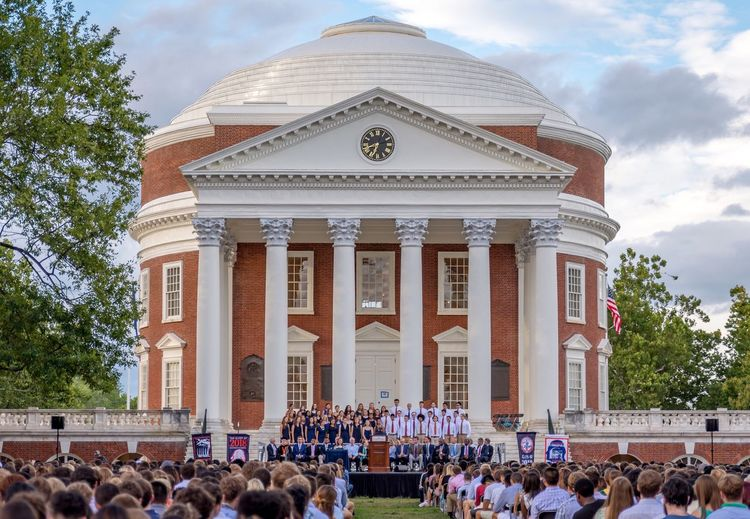 University Of Virginia Uva Group Of People Historical Building Rotunda Columns And Pillars Building Exterior Lawn Campus Campus Life Ceremony School Education College University Sky Façade Historic Tourism Celebration College Life The Color Of School Outdoors Capitals  Architecture