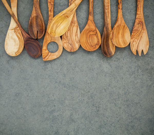 High Angle View Of Wooden Spoon On Floor