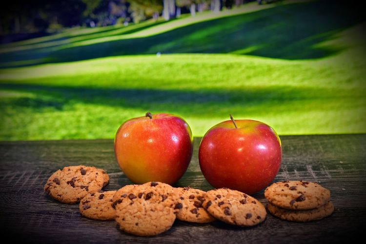 Close-up of cookies on apple