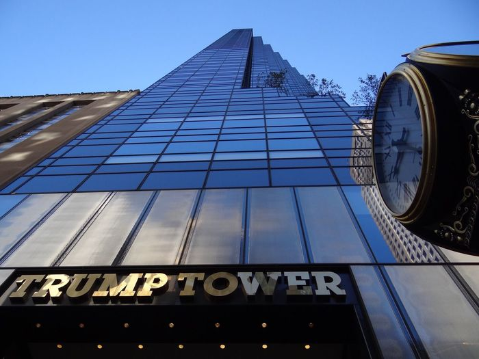 Trump Tower - https://de.m.wikipedia.org/wiki/Trump_Tower Trumptower Trump Tower Blue Sky 5th Avenue Manhattan NYC NYC Photography NYC Skyline Low Angle View Architecture Built Structure Building Exterior Text Day Outdoors Sky Clock Clock Face
