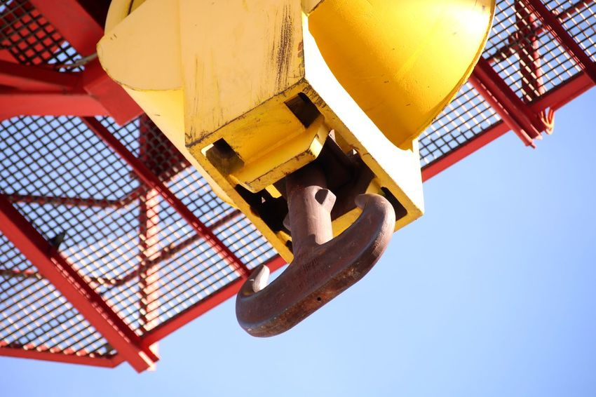 Hook Container Crane EyeEm Selects Yellow Industry Sky Close-up Directly Below Construction