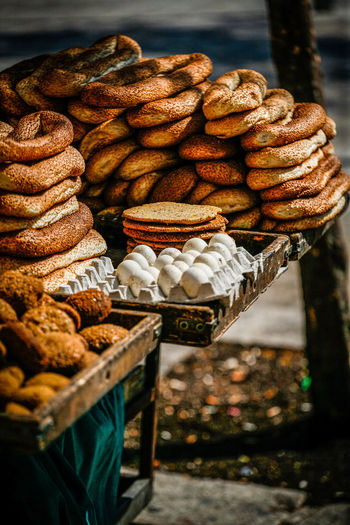 Close-up of food for sale on table