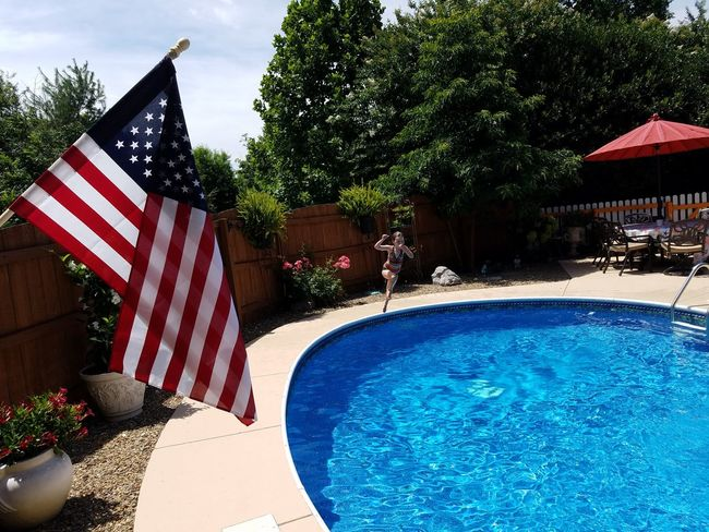 America American Flag Check This Out 4th Of July Pool Dadstuff Daddy's Girl Dadlife Dadthings Freedom Celebration