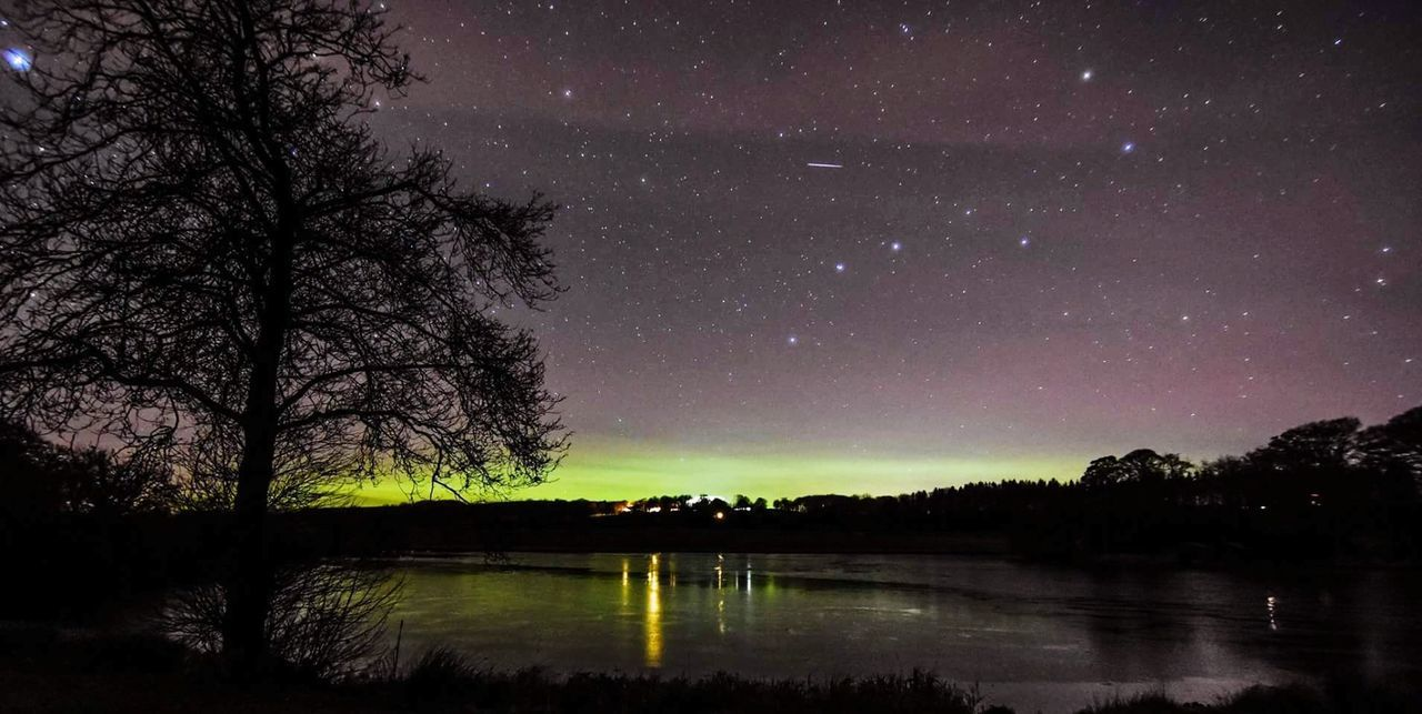 tree, star - space, beauty in nature, night, sky, scenics, tranquil scene, nature, tranquility, reflection, lake, no people, outdoors, astronomy, water, star field, galaxy, starry, landscape, bare tree, constellation, space