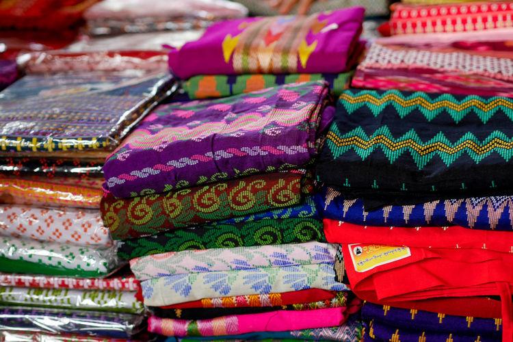 Full frame shot of colorful textile for sale at market stall