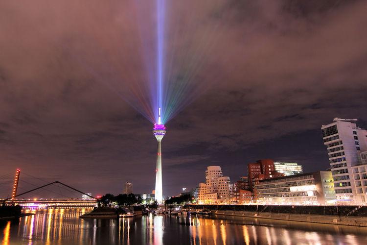 Rheinturm Lit Up At Night