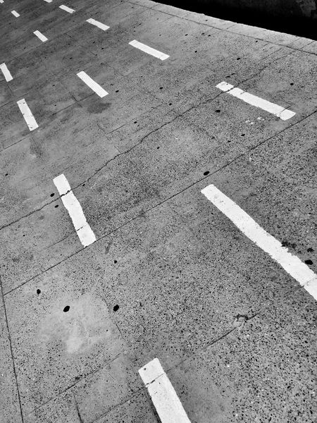 Black & White Road To Nowhere Concrete Leading Lines Diagonal Road Paint