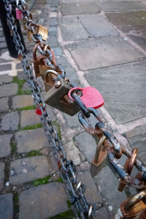 Heart Heart Shape Heart ❤ Lock Locked Locks Padlock Chainlink Fence Chainlink Chain Metal High Angle View Transportation Day Safety Architecture Protection Bicycle No People Security Outdoors Love Connection Emotion Positive Emotion Focus On Foreground Love Lock Stone Wall Paving Stone