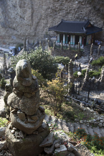 Tapsa, a Buddhism temple at Maisan Mountain, Muan, Jeonbuk, South Korea Buddhism High Angle View Maisan Religion Sprituality Stacked Stones Stone Tower Tapsa Temple Traquility