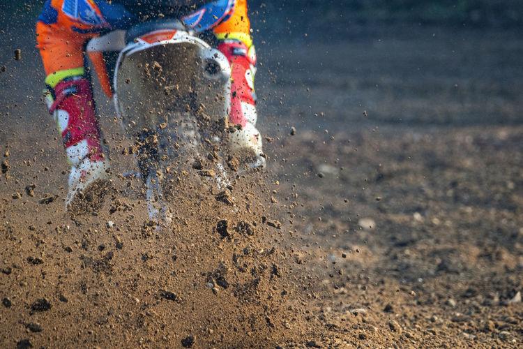 Motocross scene on a trail