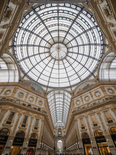 Ceiling Architecture Built Structure Dome Indoors  Low Angle View Shopping Mall Travel Destinations No People Glass - Material Ornate Art And Craft Arch Pattern Architectural Feature Tourism City Architecture And Art Skylight Directly Below Mural Fresco Architectural Column Mediolan Italy