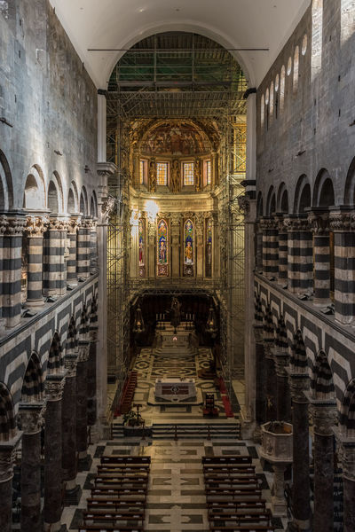 The interior of the San Lorenzo cathedral of Genoa Architecture Cathedral Catholic Church City Genoa Genova Gothic Lawrence Top Touristic Arch Building Columns Indoors  Inside Interior Italy Landmark Liguria Medieval No People San Lorenzo Travel Destinations
